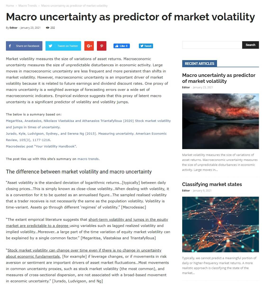 Macro economic uncertainty