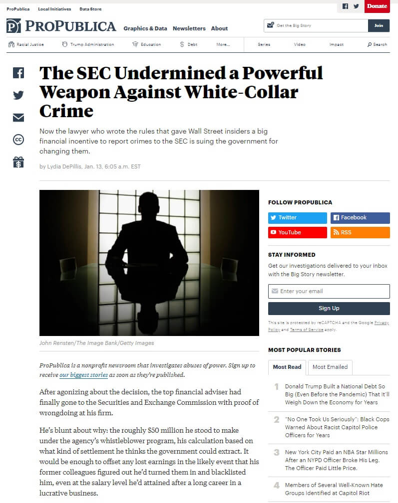 ProPublica article - The SEC undermined a powerful weapon against white-collar crime