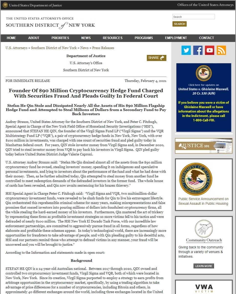 DOJ Press Release Stefan He Qin