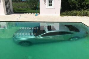 Car in the pool
