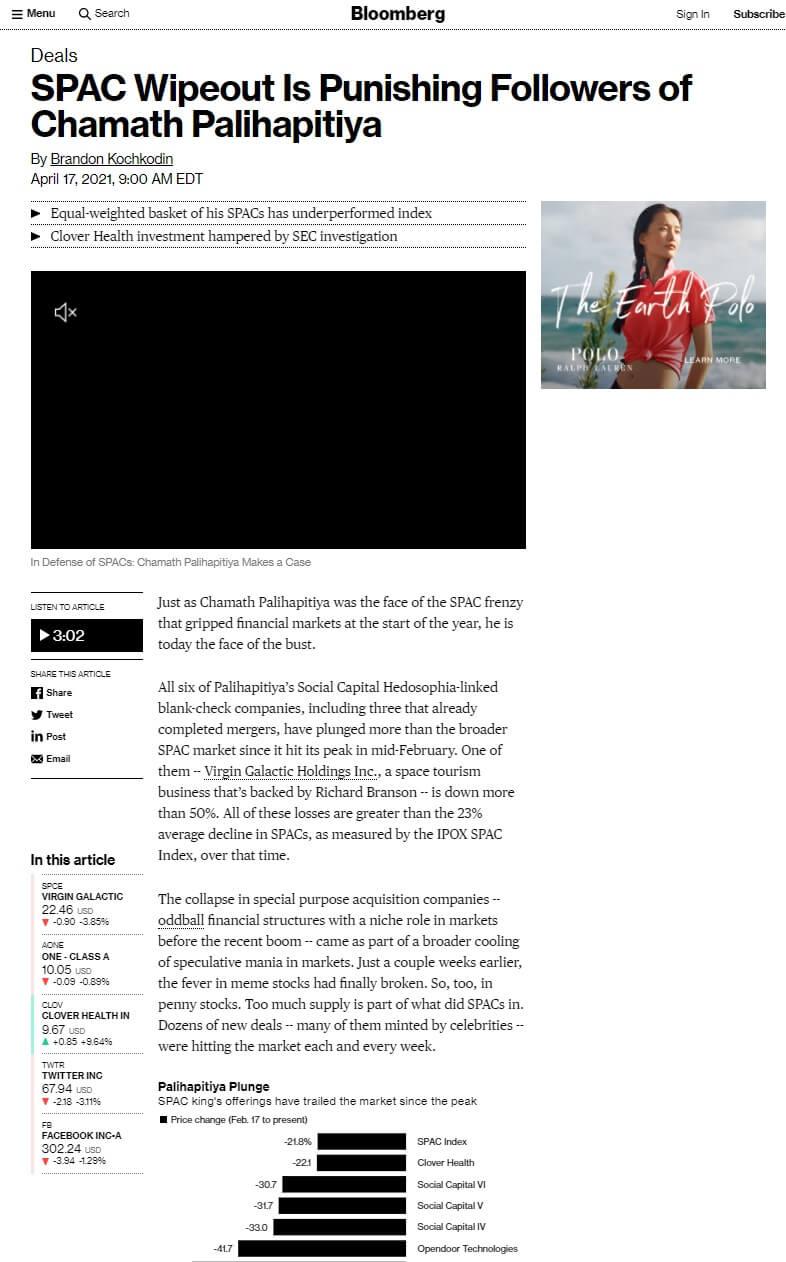 Bloomberg Article Chamath Palihapitiya