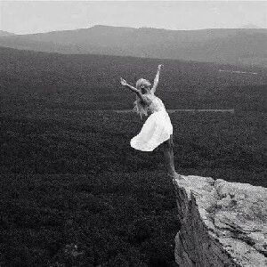 Girl falling off a cliff