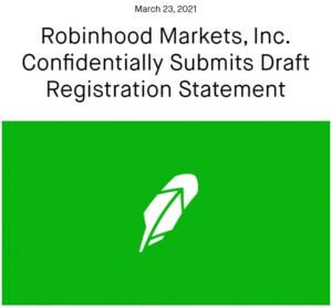 Robinhood Markets, Inc. Confidentially Submits Draft Registration Statement