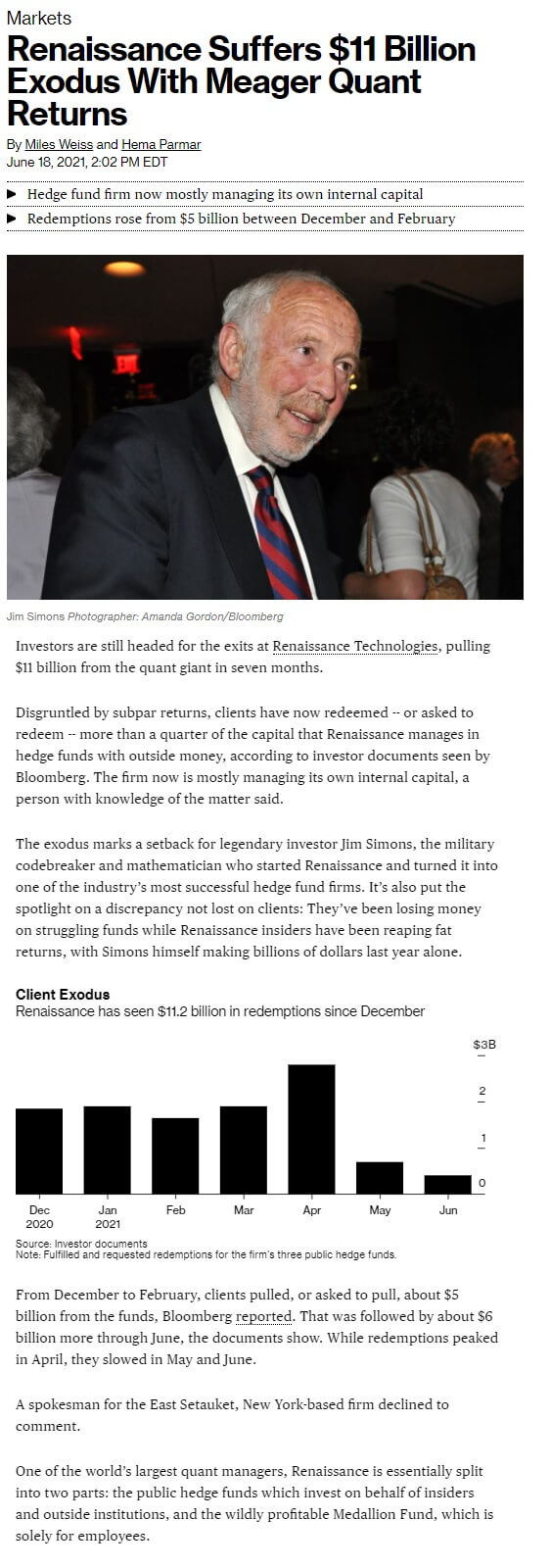 Bloomberg - Renaissance Suffers $11 Billion Exodus With Meager Quant Returns
