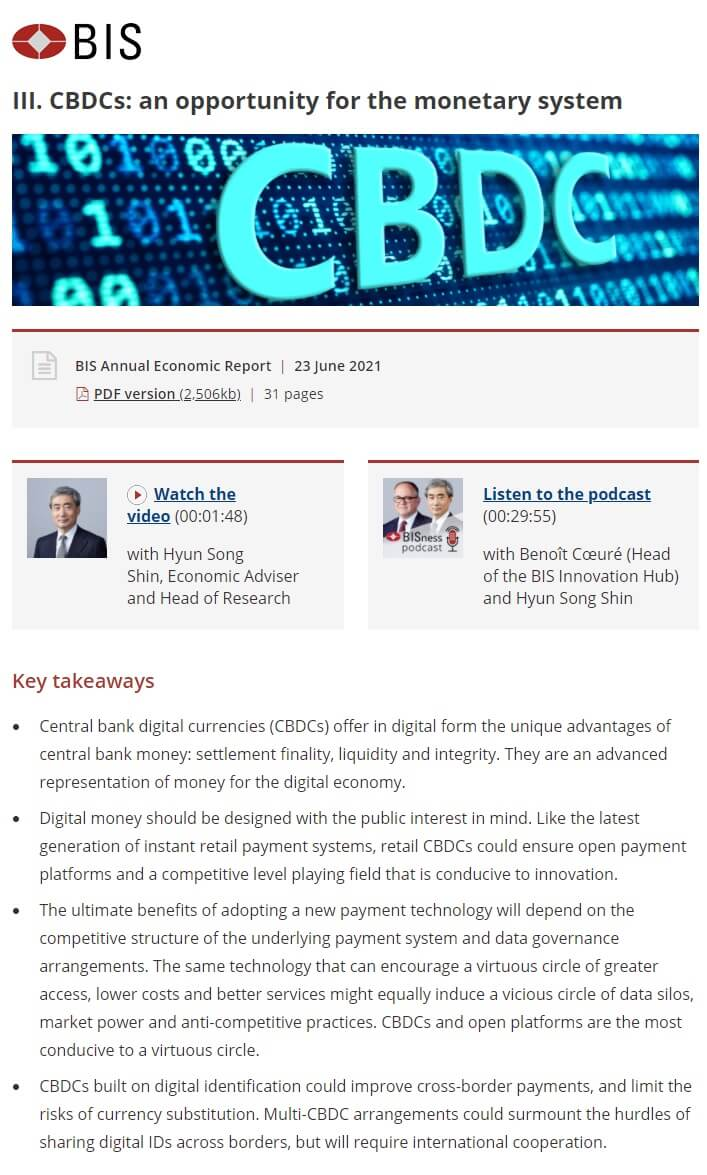 BIS - CBDCs an opportunity for the monetary system