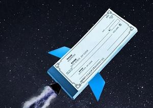 Flying blank check